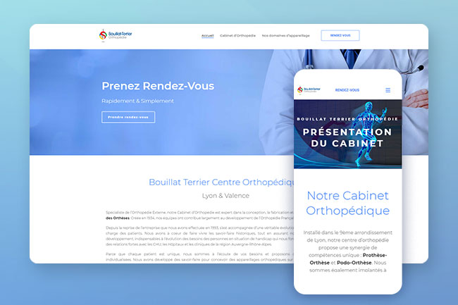 bouillat terrier orthopédie site web internet wordpress agence design communication lyon creation developpement graphisme illustration application mobile